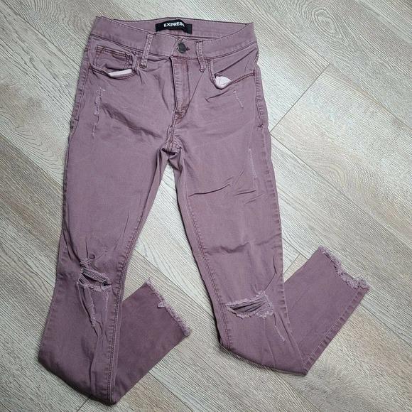 Express Women's Distressed Raw Hem Skinny Jeans